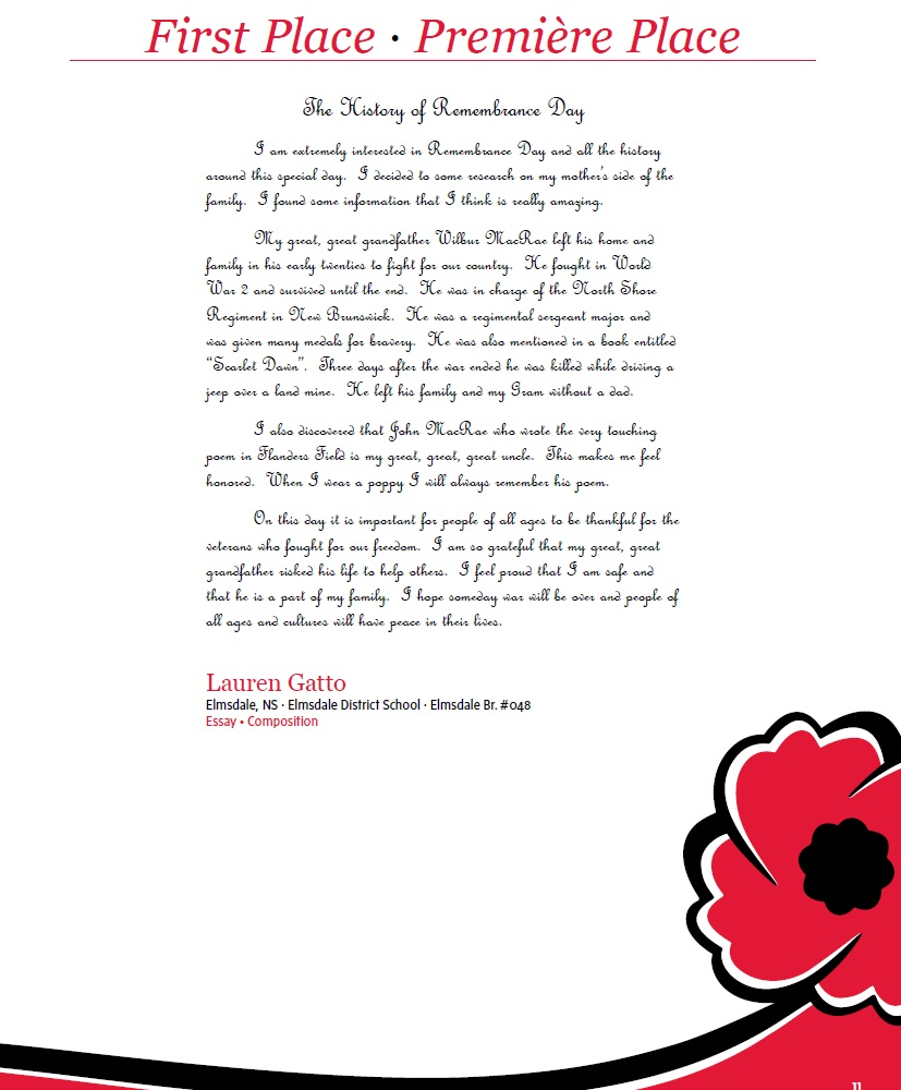 Remembrance day topics for essay